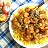 """A Little Help From My Friends"" Saffron Rice with Chutney Shrimp and Caramelized Onions"
