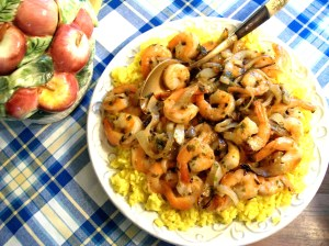 Saffron Rice with Chutney Shrimp and Carmelized Onions- myyellowfarmhouse.com