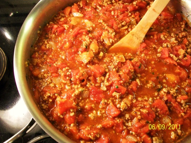 Basic Italian Meat Sauce - before simmering
