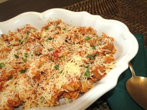 Rotini with Creamy Red Sauce and Italian Sausage and Chicken
