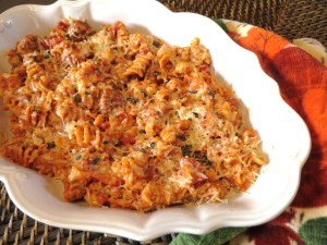 Rotini with Creamy Red Sauce with Italian Sausage and Chicken