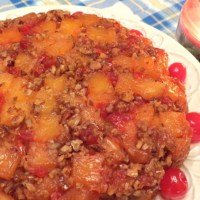 Second Version - 'Old-Fashioned Pineapple Upside-Down Cake', Made with Pineapple Chunks, Cherries & Pecans