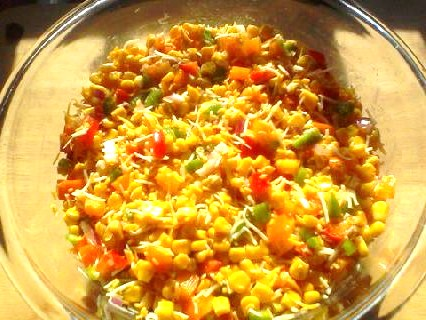 My Yellow Farmhouse - Corn Salad - before mayo