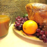 """Make Ahead Turkey Dinner"" - Recipes No. 4 & 5 - Roasted Turkey Breast (or Whole Turkey) with White Wine, Oranges and Apples & Savory Turkey Gravy"