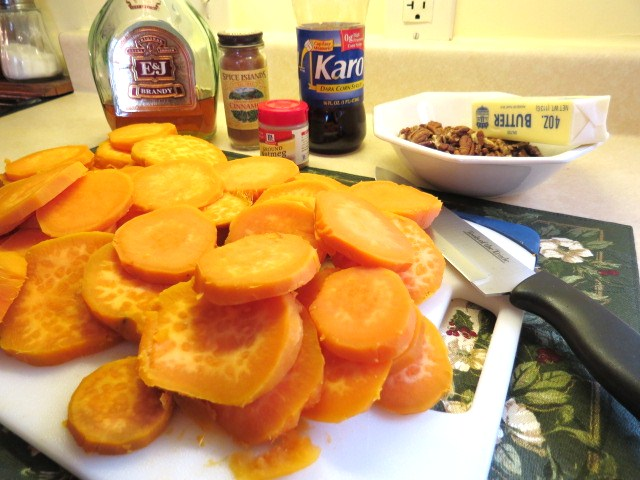 "Make Ahead Turkey Dinner - ""Sweet Potatoes with Cinnamon, Nutmeg and a Splash of Brandy"" - My Yellow Farmhouse.com"