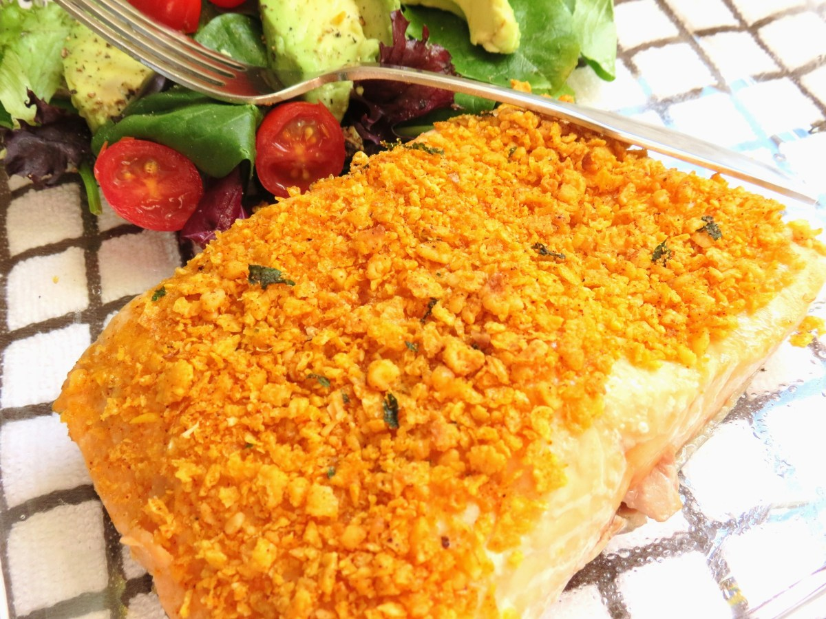 Oven Baked Salmon with Crispy Topping       ++ Can Be Prepared Gluten Free !