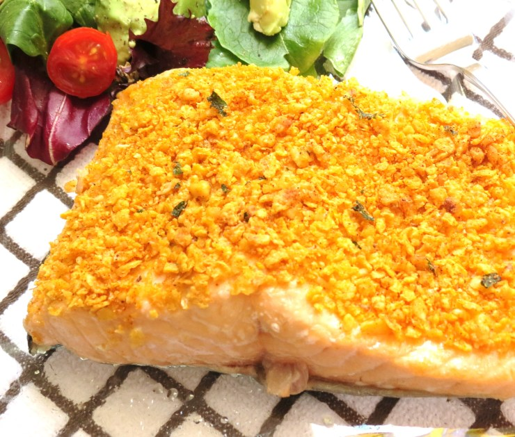 Oven Baked Salmon with Crispy Topping - myyellowfarmhouse.com