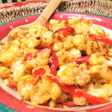 Roasted Cauliflower And Red Peppers Recipe — Dishmaps