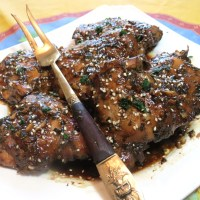 Balsamic, Honey, Soy Sauce & Garlic Marinated Chicken Thighs