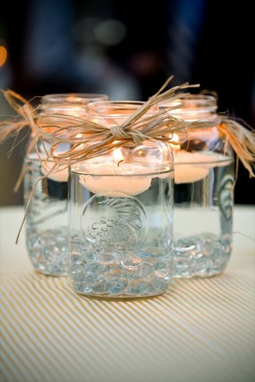 Floating votives - mason jar - courtesy emmalinebride.com