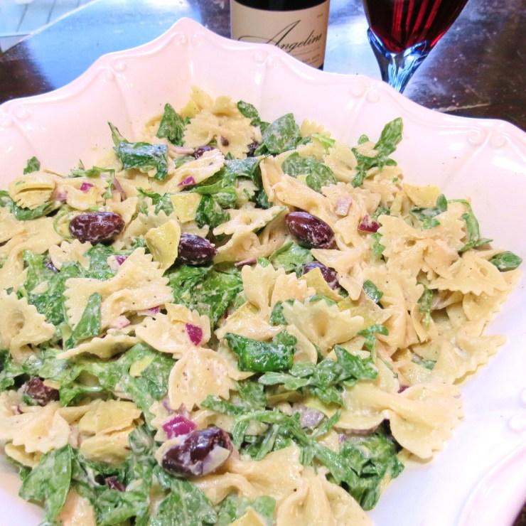 Spinach-Arugula Ceasar Pasta Salad with Artichoke Hearts etc  myyellowfarmhouse.com