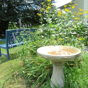 August 2015 - bird bath and bench - My Yellow Farmhouse.com