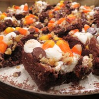 'Frightfully Delicious Halloween Bars' with Candy Corn, Mini-Marshmallows, Nuts and Chocolate Chips