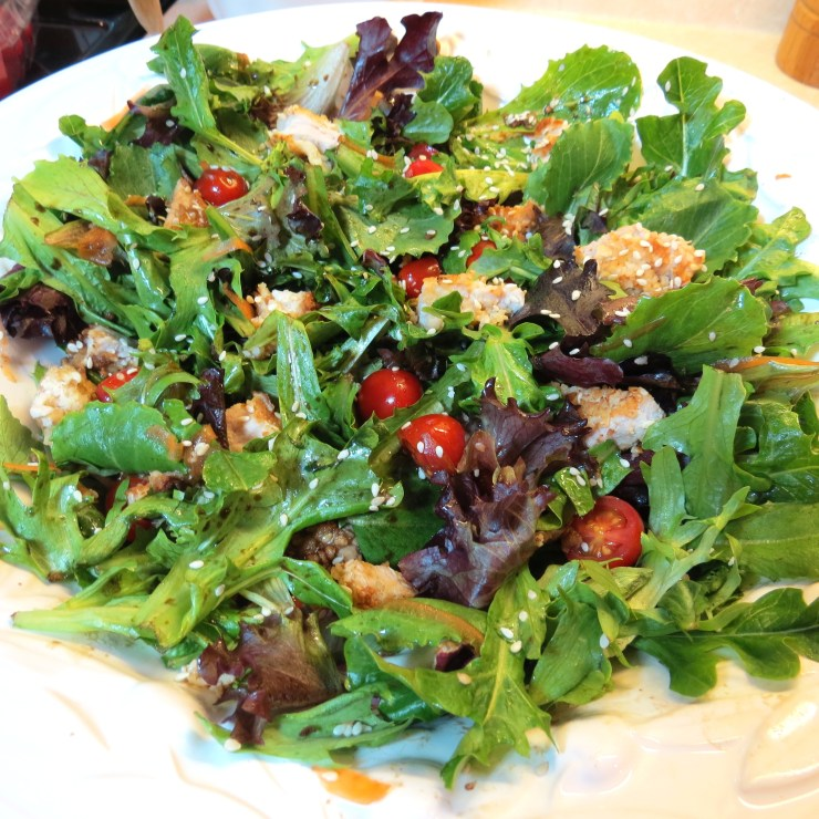 Crispy Sesame Pork with Mixed Greens, Cherry Tomatoes & Teriyaki Salad Dressing - myyellowfarmhouse.com