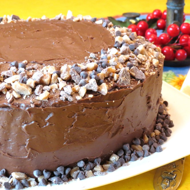 Tired of Thin Layer Cakes - Here's a Trick to Fix That!  Yellow Layer Cake with Mini Chocolate Chips and English Toffee - My Yellow