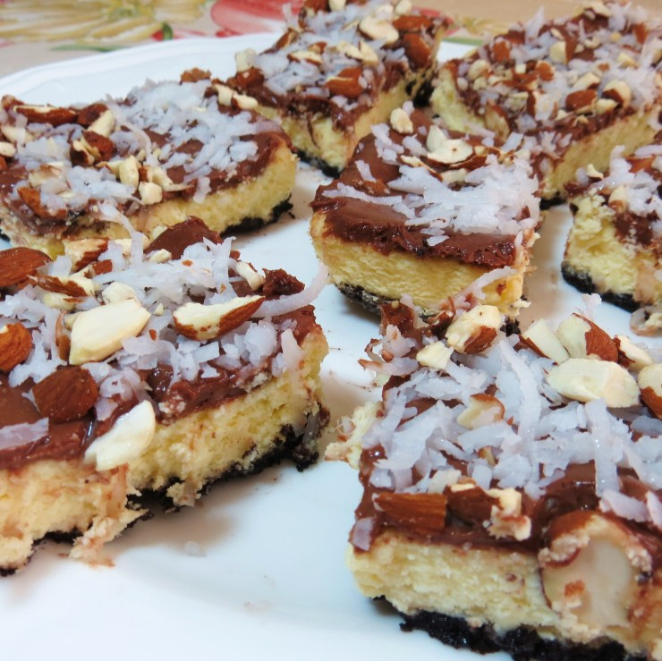 Coconut Joy Cheesecake Bars with Chocolate Cookie Crust - myyellowfarmhouse.com
