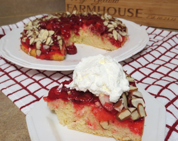 Upside Down Cherry Almond Cake - My Yellow Farmhouse.com